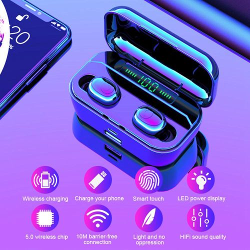 Bluetooth Earphone Waterproof TWS Wireless Charging Earbuds Stereo Bluetooth 5.0 Headset Can Charge Phone- Black