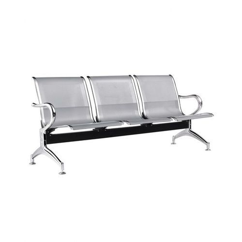 3-Seater Airport Reception Office Waiting Chairs - Silver