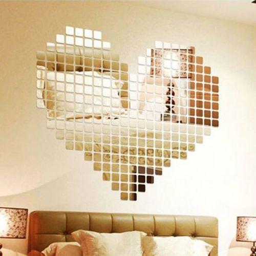 Luxury 100pcs 2x2cm Silver Tone Shiny Acrylic 3d Mural Wall Sticker Mosaic Mirror Effect