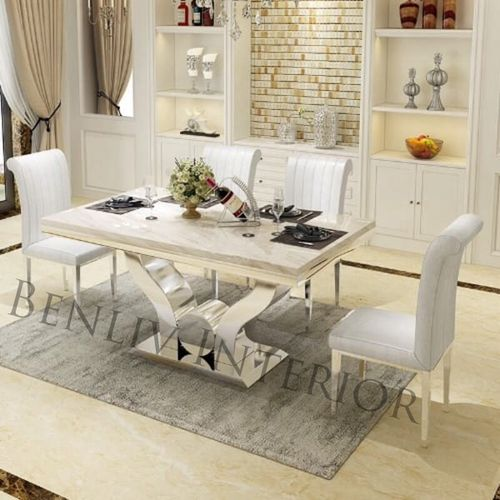 Marble Dining Table Set With Sitting Chairs