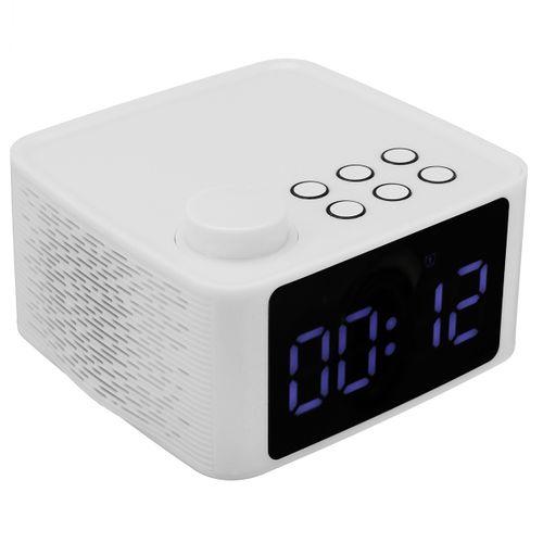 2 In1 Wireless Wooden Bluetooth5.0 Speaker Alarm Clock Subwoofer Hi-Fi Music Player FM Radio TF/USB Stereo