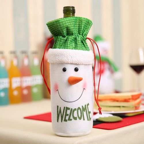 Merry Christmas Gift Treat Candy Wine Bottle Bag Santa Claus Elk Decor Champagne Bags