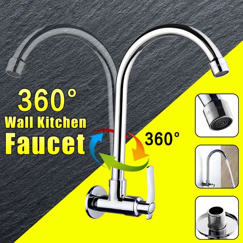 360? Rotate Wall Mounted Chrome Kitchen Basin Sink Faucet Single Handle Tap