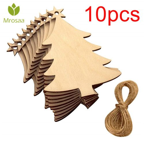 Laser Carving Wood Chips 3mm Wooden Crafts Christmas Tree Pieces Home Christmas Tree Accessories Small Pendants