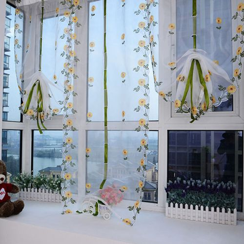 Floral Scarf Sheer Voile Tulle Curtain Drape Divider Totem Door Window Room