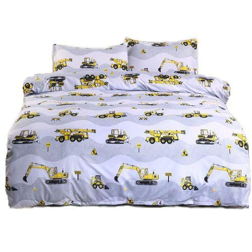 Excavator Printed Bedding Set Boy Duvet Cover Set 3 Piece Bedding Set(2Pcs Pillowcase+1Pc Duvet Cover)