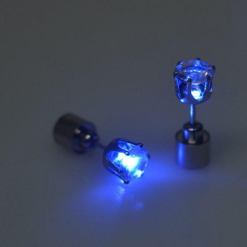 LED Luminous Zirconia Stone Ear Stud Earrings For