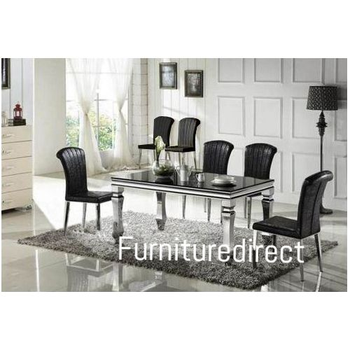 Marble Black Bulin Dining Set Furniture + 6 Dinning Chairs