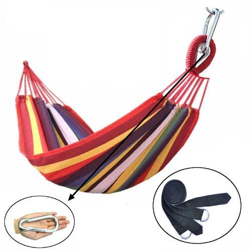 Single Metal Buckle Thick Canvas Hammock Swing Suitable For Outdoor Camping Hostel Send Professional Straps Rainbow