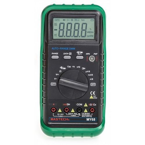 My68 Handheld Auto Range Digital Multimeter DMM W/Capacitance Frequency & HFE Test - MY68