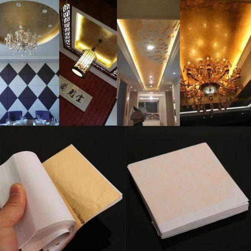 100 Sheet Imitation Gold Leaf Champagne Gold Foil Paper Gilding Craft 8x8.5CM