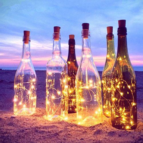 LUSTREON Battery Powered 2M 20LED 3 Modes Sliver Wire Bottle String Fairy Light For Christmas Decor-