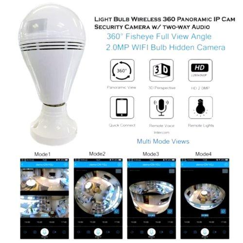 360° Panorama Fisheye Camera Lamp IP CCTV Monitor Light Bulb