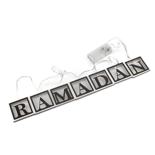 Wooden Square Shape Hollow Ramadan Letters L-ED String
