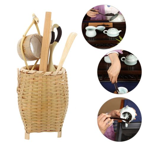 6 Ceramic Tea Trumpet Sets Chinese Style Natural Bamboo Tea, New Kung Fu Tea Accessories