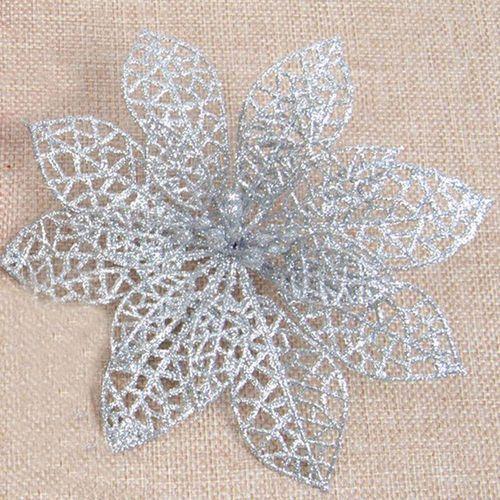 5 Pcs\Bag Plastic Simulation Christmas Glitter Hollow Flower Imitation Flowers Valentine'S Day Christmas S (15Cm\18Cm)
