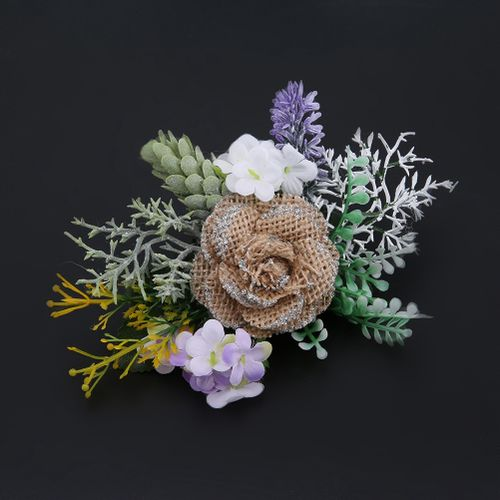 Boutonniere Natural Linen Style Boutonniere Bride Corsage Bride Artificial Cofre Flower Wedding Party Decor Flower Doll