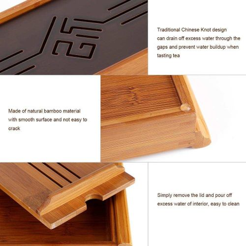 Bamboo Tea Tray Cup Plate Traditional Chinese Style Serving Tray Kung Fu Tea Accessory