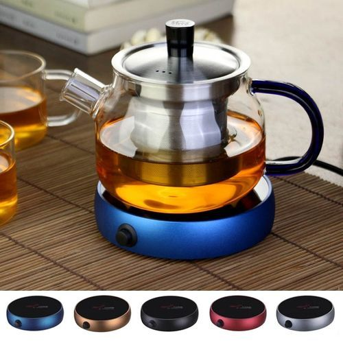 Portable Electric Desktop Hot Coffee Tea Heater Cup Mug Pad Warmer Warming Tray Blue