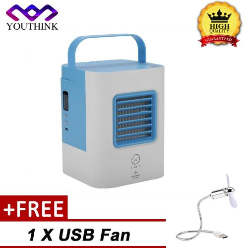 [Buy 1 Get 1 Free USB Fan] 2 Colors Portable Mini Air Conditioner Fan USB Air Cooler Cooling System Indoor Humidifying
