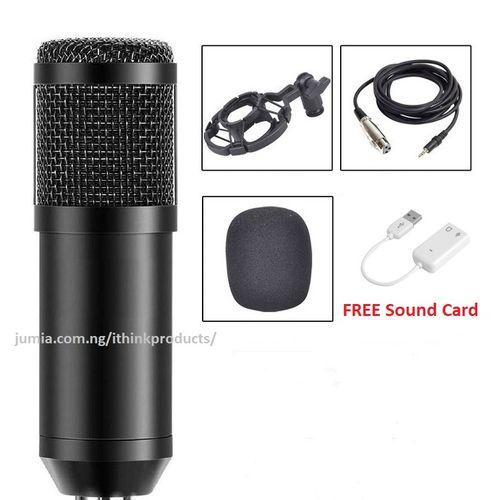 BM 800 Condenser Microphone Audio Mic Studio Sound Recording Microphone - Black