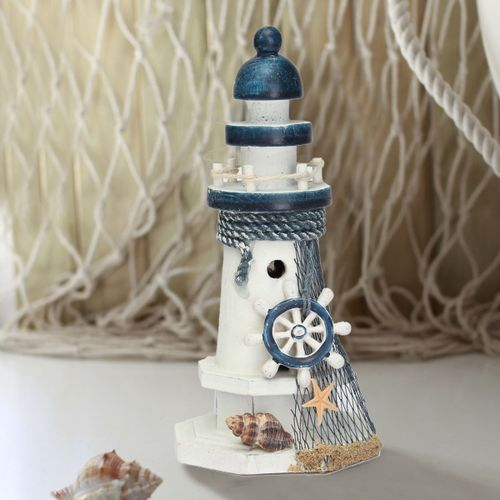 Mediterranean Wooden Light House Tower Nautical Starfish Shell Lifebouy Decor