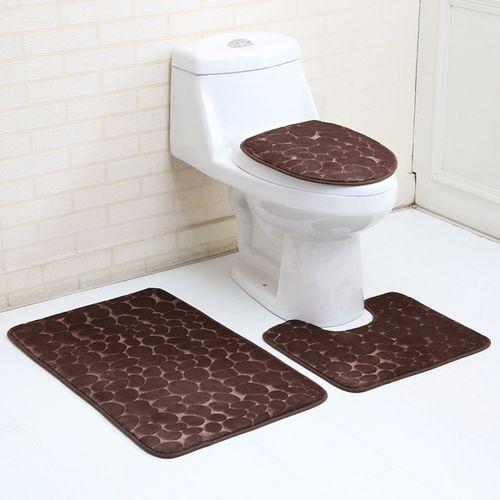 3PCS Bathroom Carpet Non-Slip Pedestal Rug + Lid Toilet Cover + Bath Mat Set