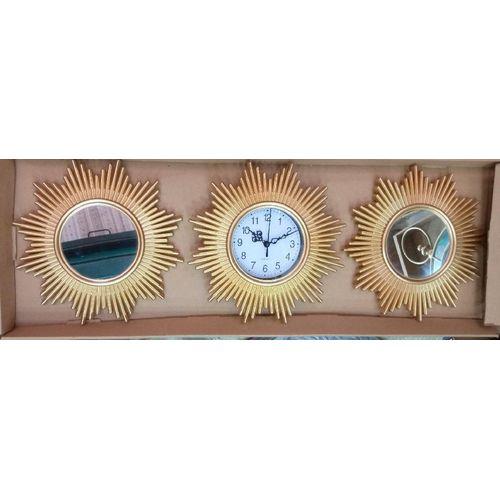 Decorative Wall Decor Mirror And Clock - 3 Piece Set