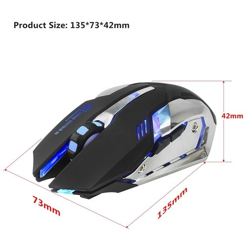7 Colors Backlight Rechargeable Wireless Mouse 2.4G Optical Mouse 6 Buttons 2400DPI Computer Mouse LED Game