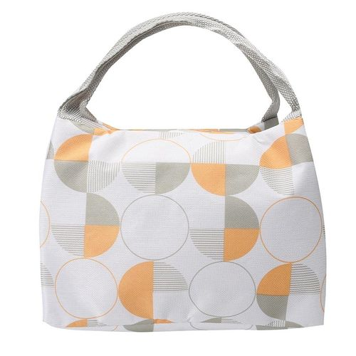 Waterproof Portable Insulation Bag Lunch Box Bag Cooler Bag Lunch Bag Thickened With Rice Bag # White Circular