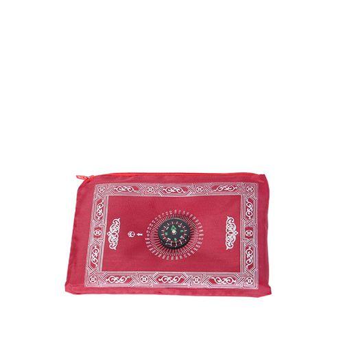 Islamic Protable Prayer Mat With Compass - Wine