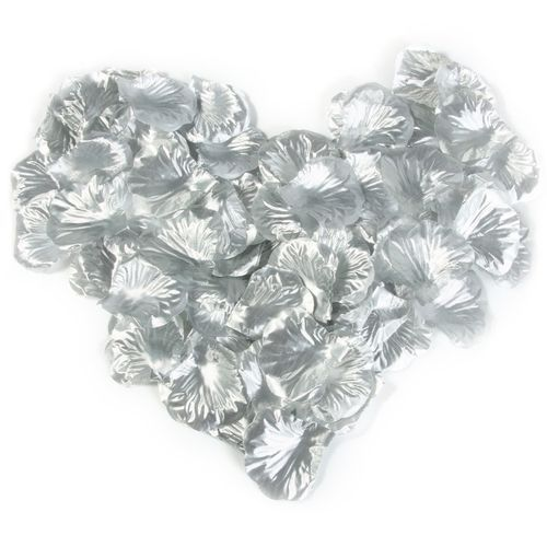 Fabric Rose Petals Flower Favors For Wedding Party Decoration- Silver
