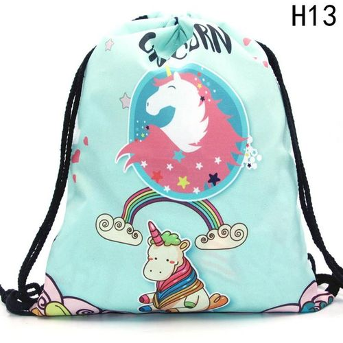 Eleganya Women Casual Drawstring Bag Unicorn Printed Backpack Travel Bag