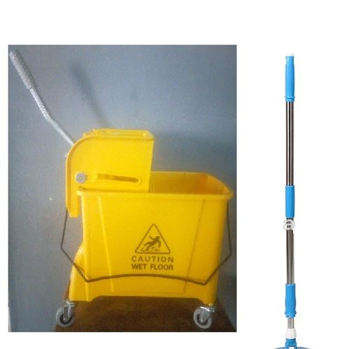 Mop Bucket With Wringer & Adjustible Mop Stick- Yellow