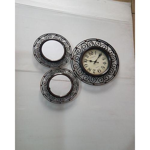 Antique Mirror And Clock Set