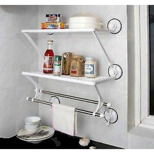 Bathroom / Kitchen 2 Layer Storage Wall Rack With Double Towel Rod