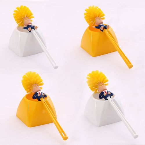 Trump Toilet Brush With Stand Plastic Material WC Handheld Toilet Cleaning Brush Holder Set, Funny Gag Gift Make Your Toilet Great Again