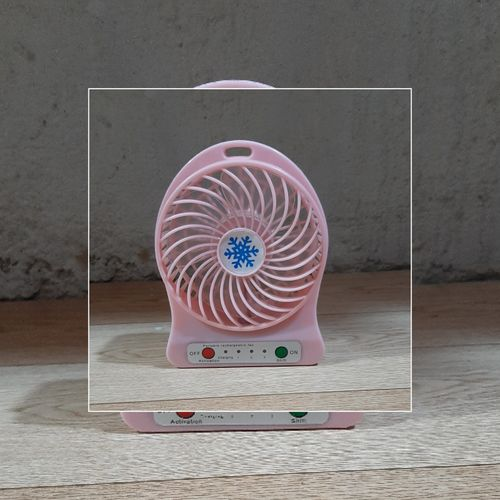 Mini Desktop USB Rechargeable Lighting Table Fans - Pink