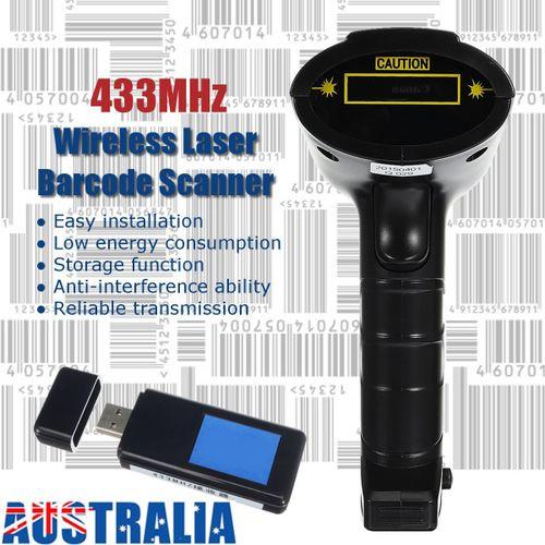 433MHz Wireless Portable Laser Barcode Scanner Bar Code Reader Receiver