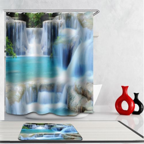 1 Pcs Water Cube Waterproof Polyester Fabric Bathroom Shower Curtain Decor 180*180
