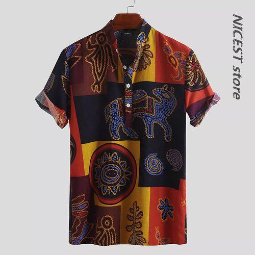 Men Vintage Short Sleeve Stand Collar Shirt-Yellow