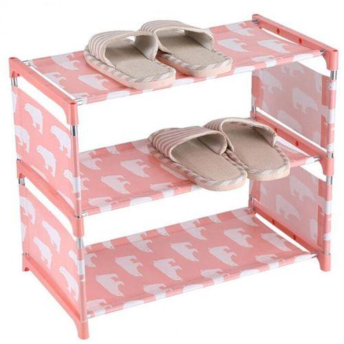 Eleganya Lovely Cartoon Bear Printing Simple Household Exquisite Shoe Rack