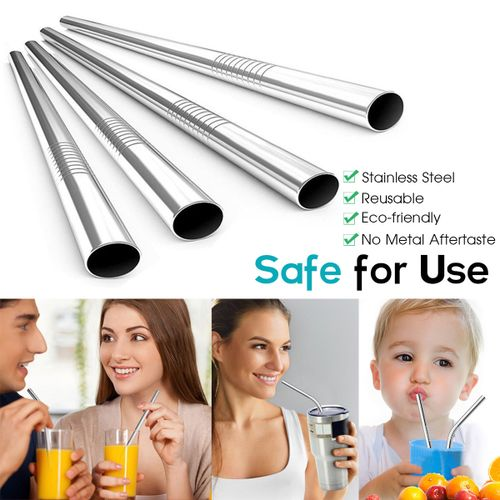 1Set Stainless Steel Drinking Metal Straw Reusable Straws Cleaner Brush Kit + Bag
