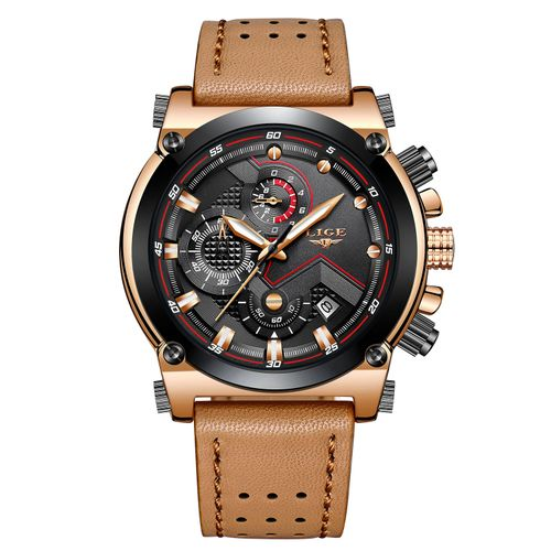 LIGE Men Quartz Wrist Watch Round Luminous Sport Watch