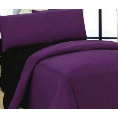 Luxury Microfibre Reversible Duvet + Bedsheet Set- Purple & Black