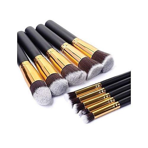 Fashion 10pcs Makeup Brush Set,Black/Gold | Jumia Nigeria