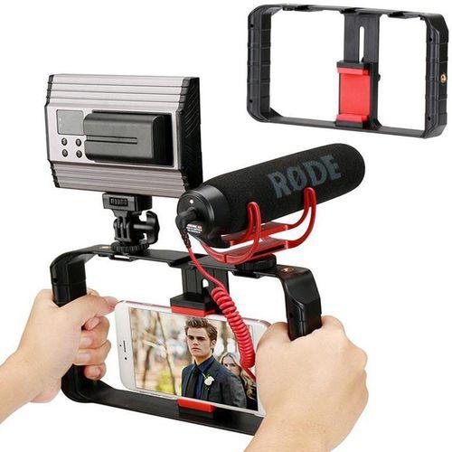 Phone Holder Handheld Selfie Sticks With 3 Cold Shoe Mounts Phone Video Stabilizer Camera Bracket