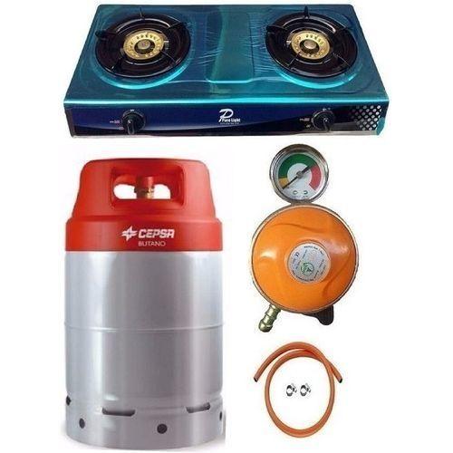 12.5kg Gas Cylinder + Universal Gas Cooker, Metered Regulator, Hose & Clips