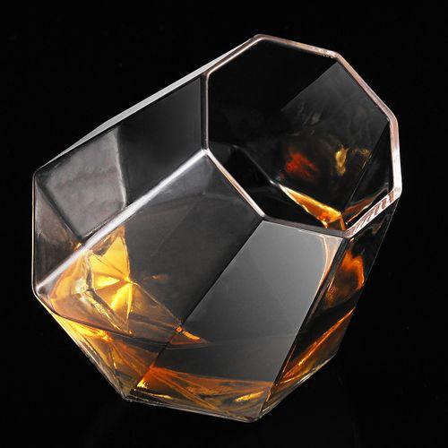 Crystal Wine Glass Cup DIAMOND Whiskey GLASSES- Spirit Drinking Tumbler