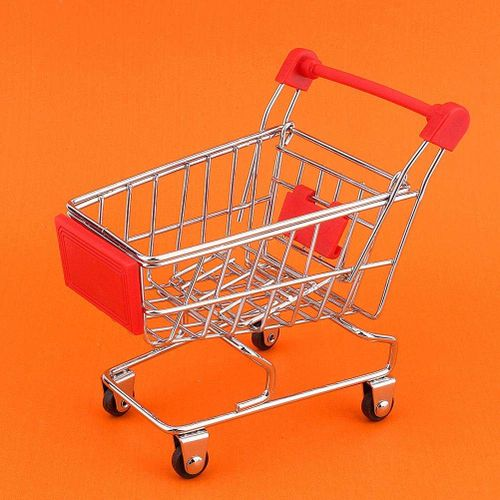 Mini Shopping Cart Trolley Supermarket Shopping Cart Metal Model Trolley For Desktop Decoration Ornament Pet Bird Parrot Hamster Toy